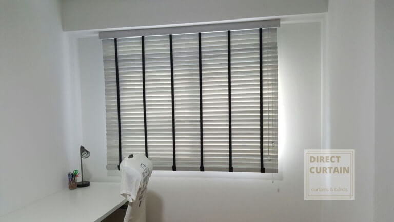 Venetian blinds in study room