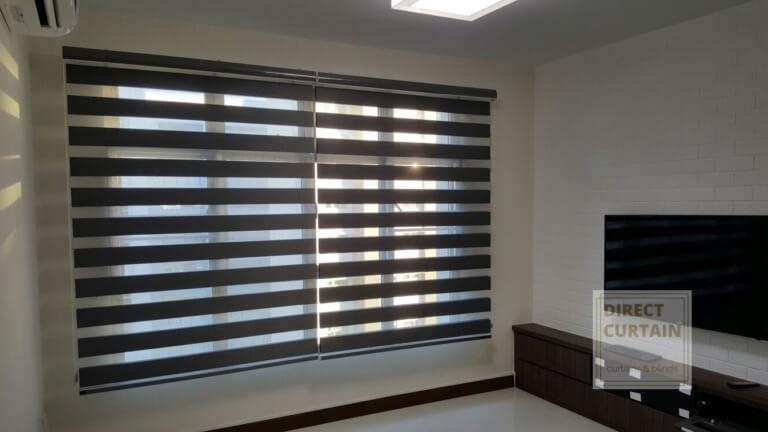 dark combi blinds in living room
