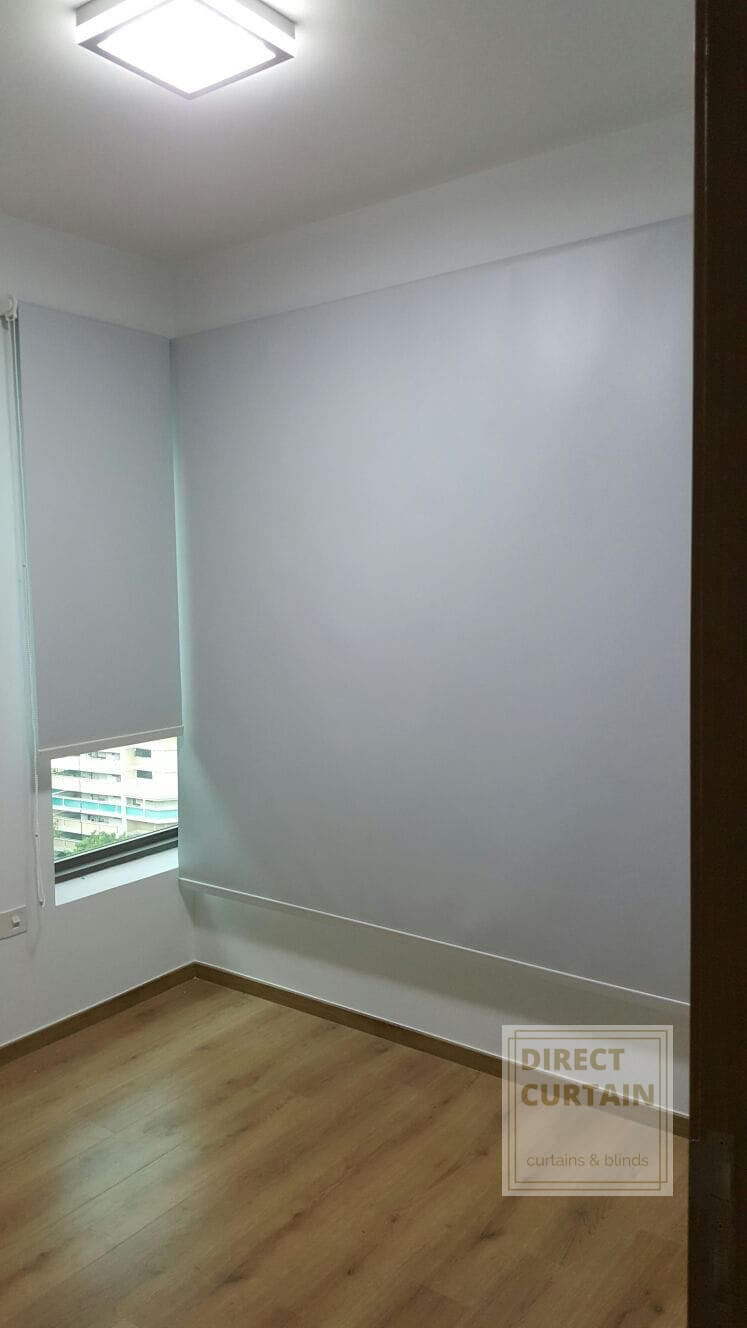 Light Grey Roller Blinds recessed mounted on L shaped window