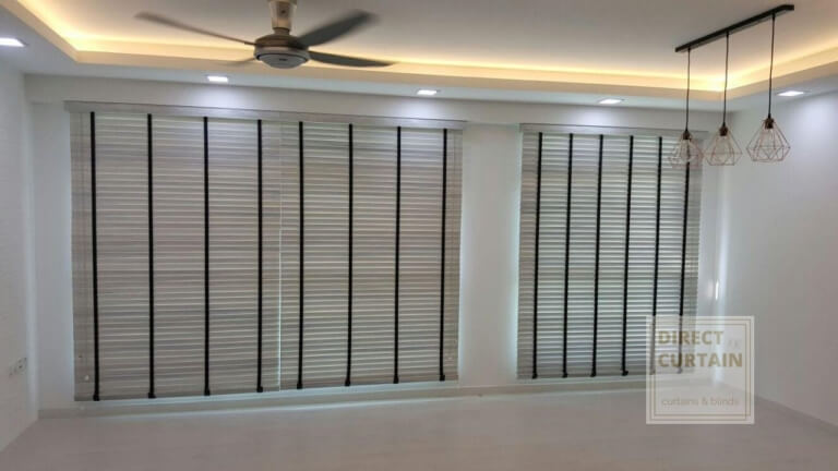 fauxwood venetian blinds in living room