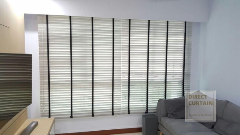 White venetian blinds in living room