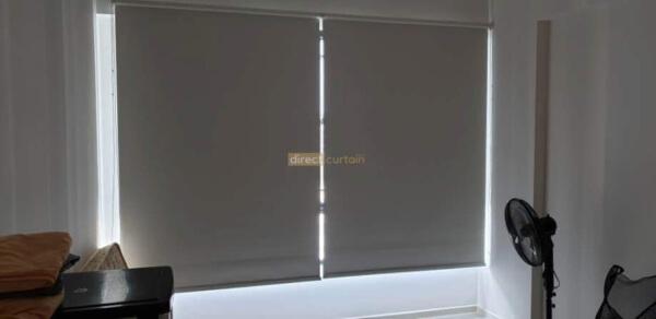 Blackout Roller Blind Ivory - Geylang HDB Bedroom