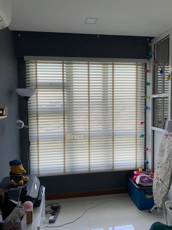 Fauxwood (PVC) Venetian Blind – Bright White 50mm with Tape C511