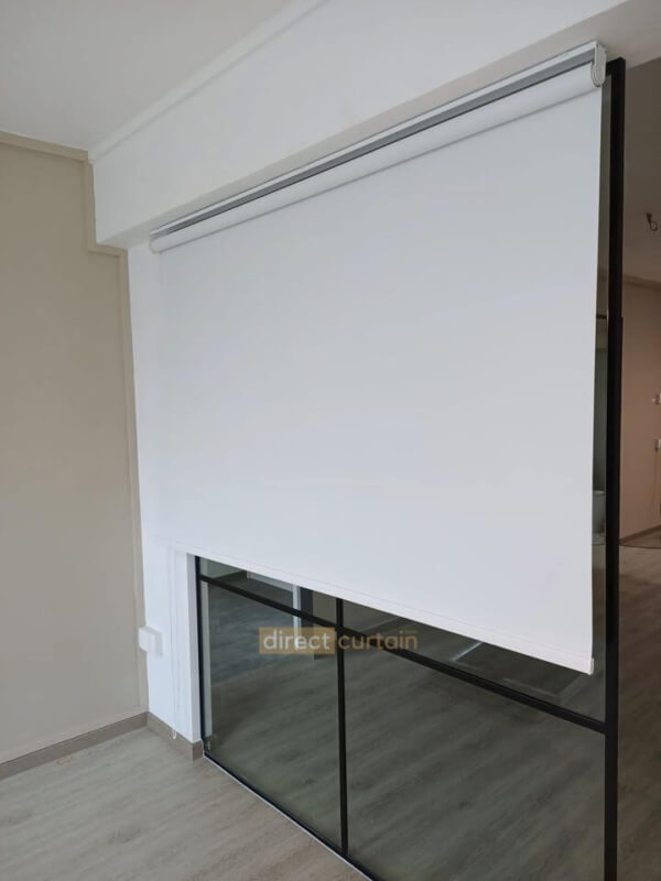 Indoor blackout blind in porcelain white colour-watermark