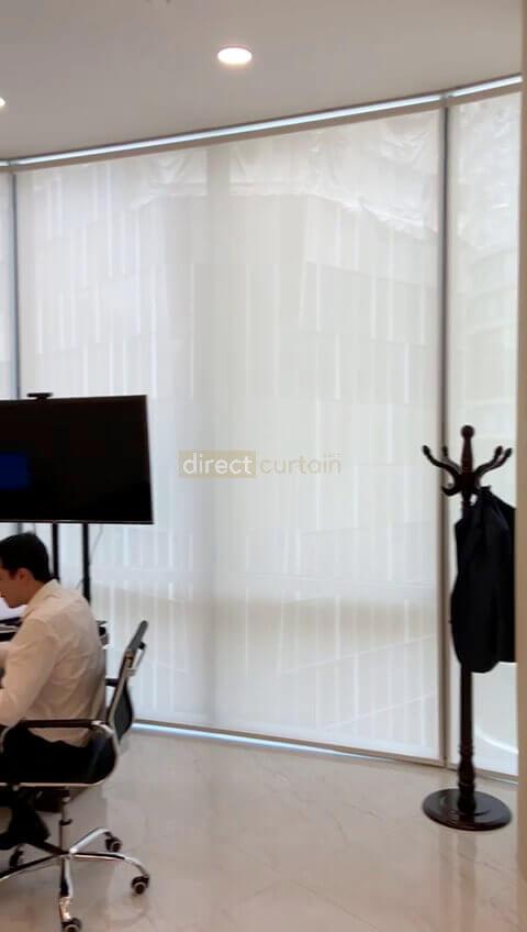 Roller Blind in office Singapore - Sunscreen Daisy White 5