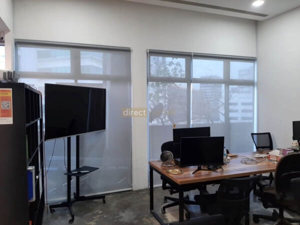 Sunscreen Roller Blind Grey White in Office at Burn Road 1