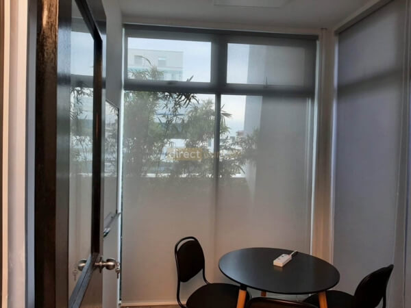 Sunscreen Roller Blind Grey White in Office at Burn Road 3