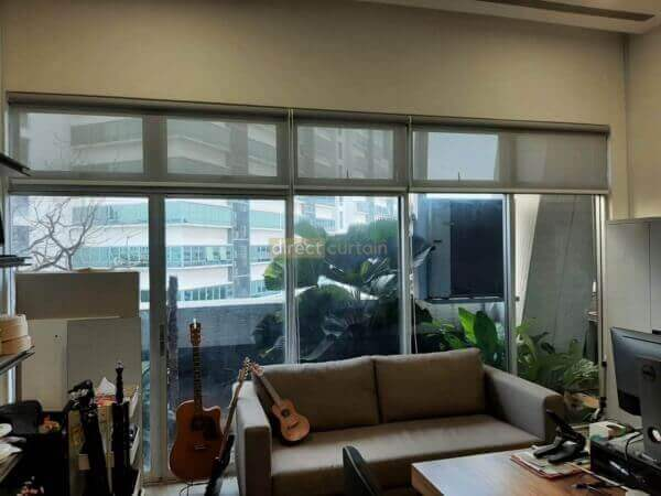 Sunscreen Roller Blind Grey White in Office at Burn Road