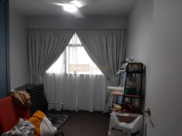 Weave Chiffon White Blackout Curtain Singapore
