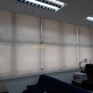 white office perforated roller blinds in sin ming midview city singapore