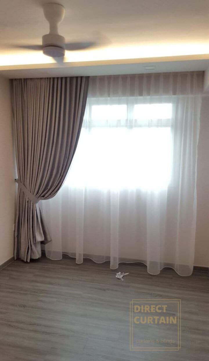 Brown night curtains with white day curtains