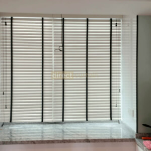 6018-50mm-Spray-paint-timber-wooden-venetian-blinds-white-with-black-tape