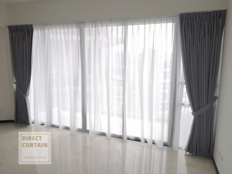 Grey dim-out night curtains and white day curtains