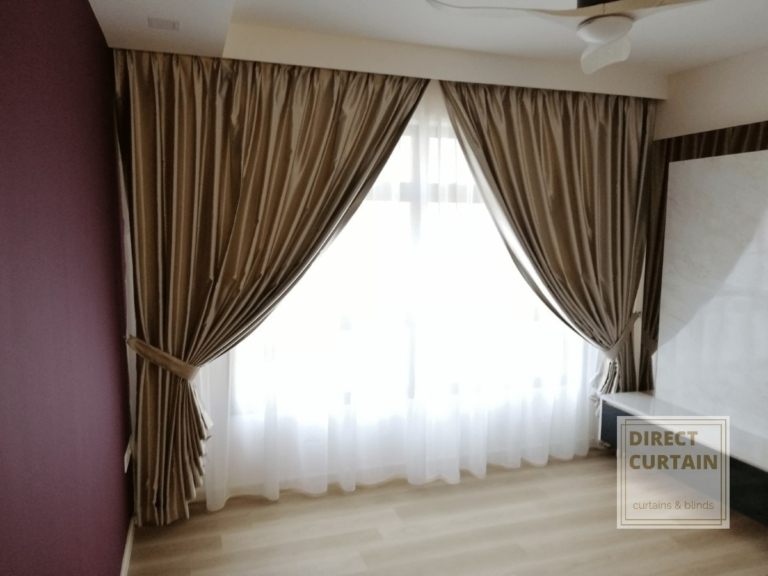 Gold dim-out night curtains and white day curtains