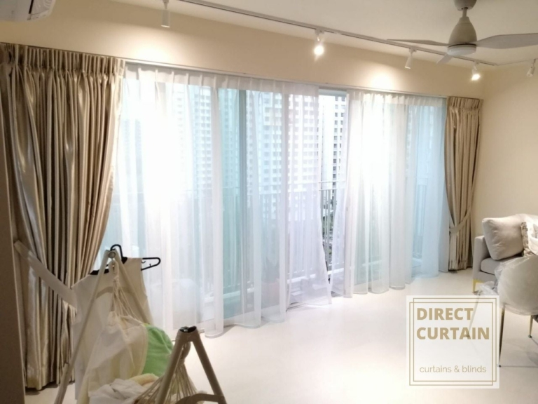 Gold dim-out night curtains and white day curtains in living room