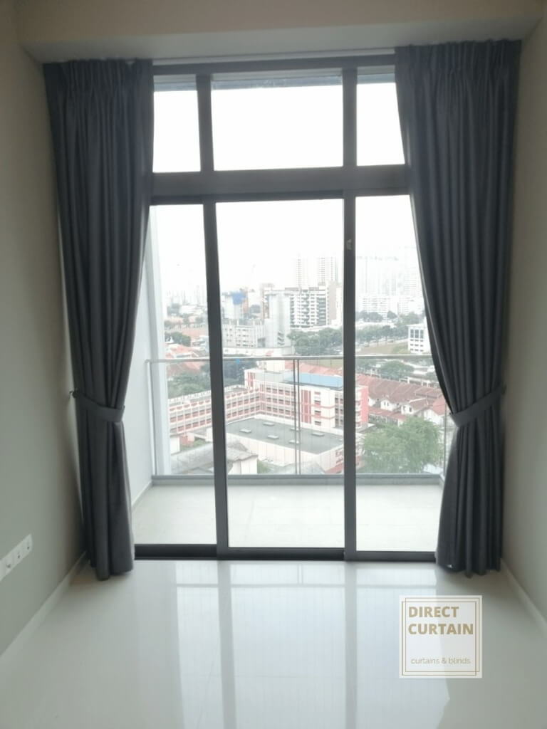 Grey dim-out night curtains in condo bedroom
