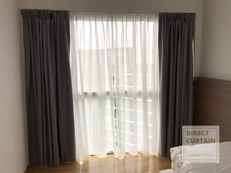 Dark Grey Night Curtans and White Day Curtains in bedroom