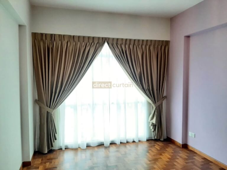 Day Curtain – Sable Beige layered with night curtains in bukit batok