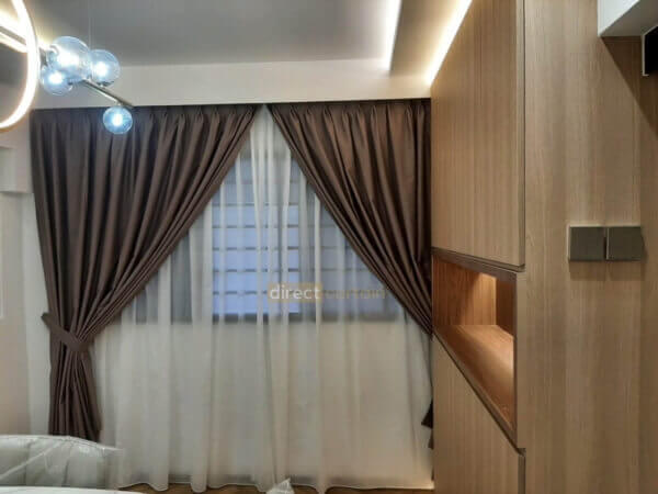 Dim-out Curtain – Stitch Cedar Brown layered with Yarn White Day Curtain in Woodlands Jumbo Flat Dining Area Singapore-watermark
