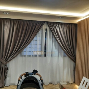 Dim-out Curtain – Stitch Cedar Brown layered with Yarn White Day Curtain in Woodlands Jumbo Flat Singapore-watermark