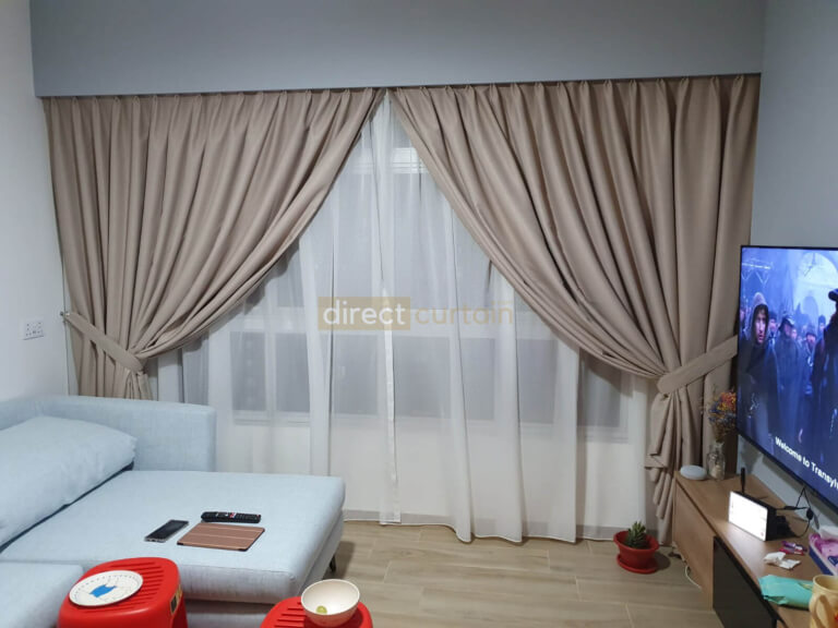 Dim-out Curtain – Stitch Tan Beige with Day Curtain – Art Off-white Beige in Buangkok Singapore
