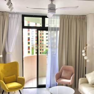 Dim-out Curtain Singapore - Ripple Cream White