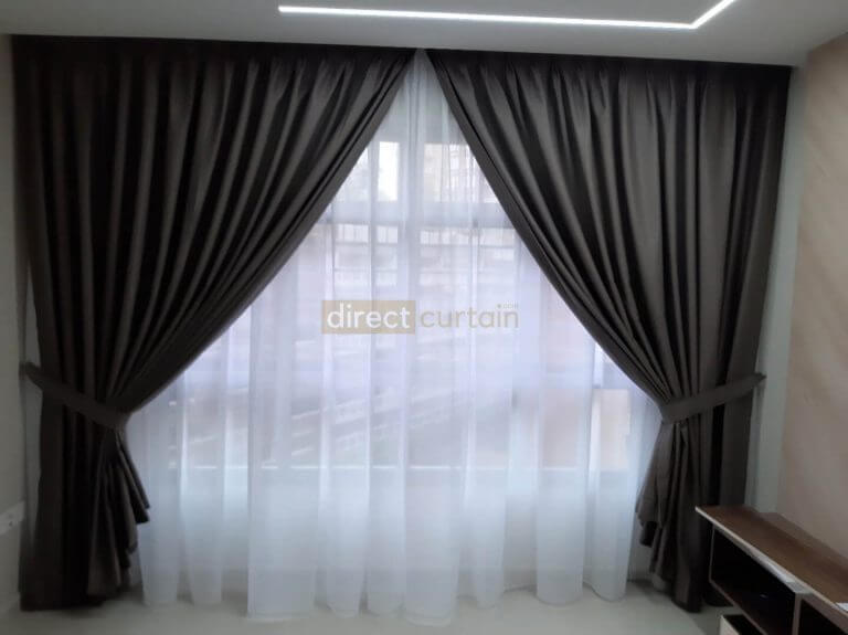 Dim-out Night Curtain – Matrix Cedar Brown - Buangkok HDB Singapore