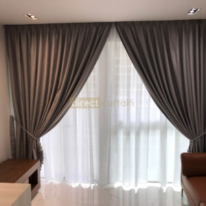 Dim-out Night Curtain – Stitch Gainsboro Grey - layered with Day Curtain Yarn White