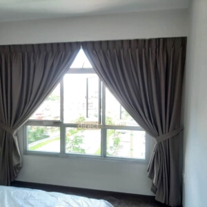 Dim-out Night Curtain – Stitch Wood Brown in Tampines HDB Singapore