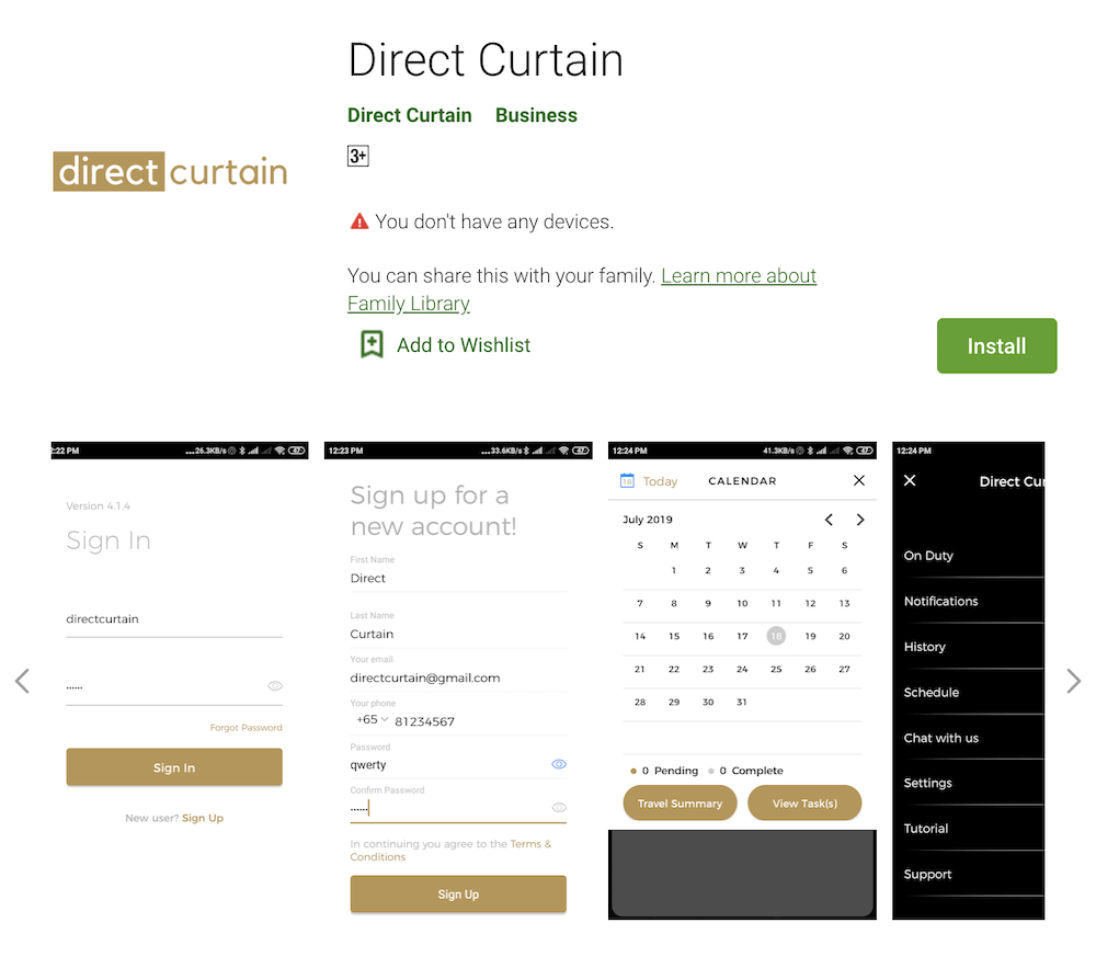 Direct Curtain Advisor App in Google Play Store Singapore