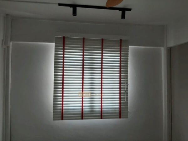 Fauxwood (PVC) Venetian Blind - Bright White 50mm with Pink Tape