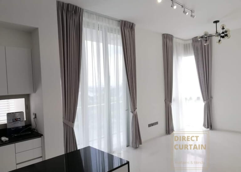 Grey Night Curtains and White Day Curtains