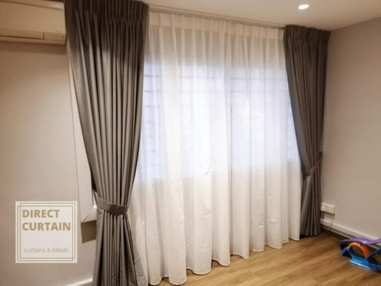 Grey Night Curtans and White Day Curtains in bedroom