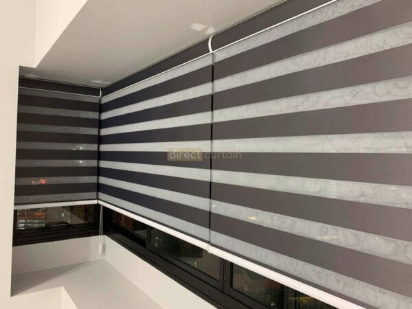 Korean Combi Zebra Blind – Blackout Charcoal Black - night view