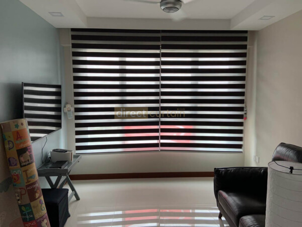 Korean Combi Blind – Blackout Chocolate Brown rolled down
