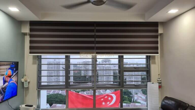 Korean Combi Blind – Blackout Chocolate Brown rolled up