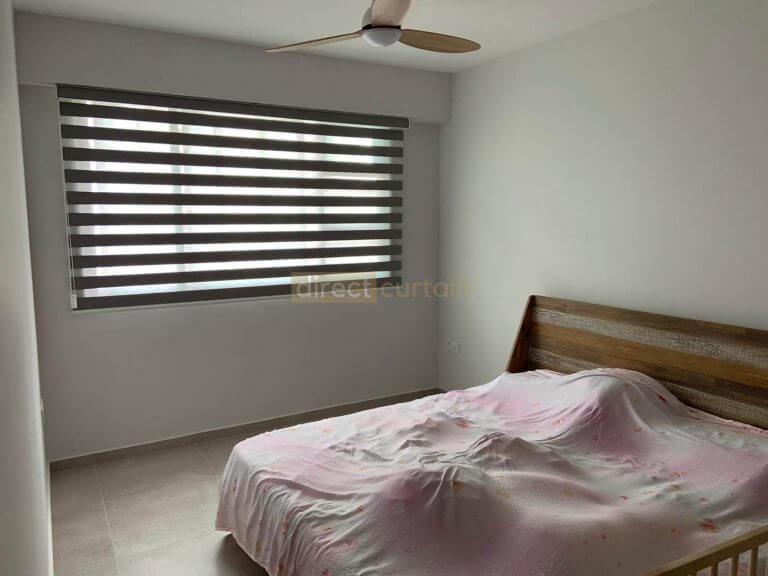 Korean Combi Blind – Blackout Dark Grey in Master Bedroom Singapore