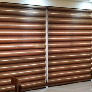 Korean Combi Blinds – Gradation Dark Brown in Sengkang HDB Living Room