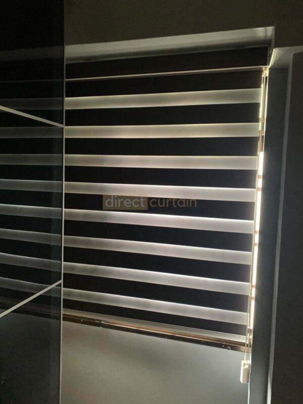 Korean Combi Rainbow Window Blind – Blackout Charcoal Black closed