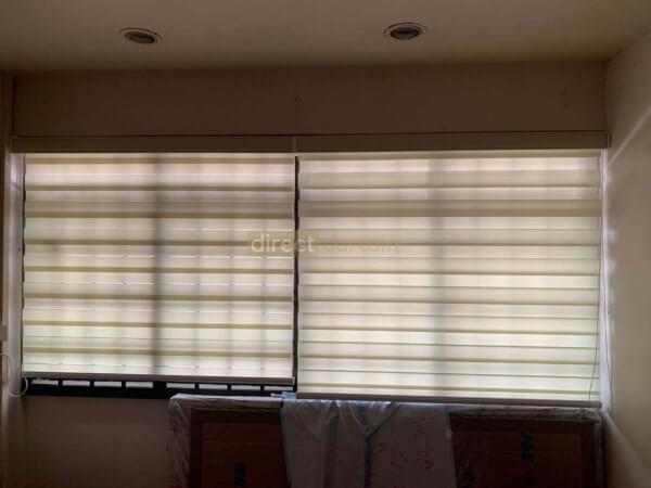 Korean Combi Rainbow Window Blind - Barley Beige closed