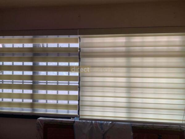 Korean Combi Rainbow Window Blind - Barley Beige opened