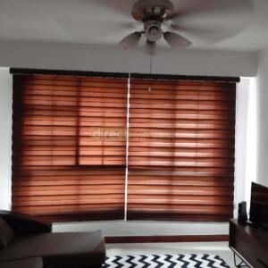 Korean Combi Zebra Blind – Chocolate Brown living room