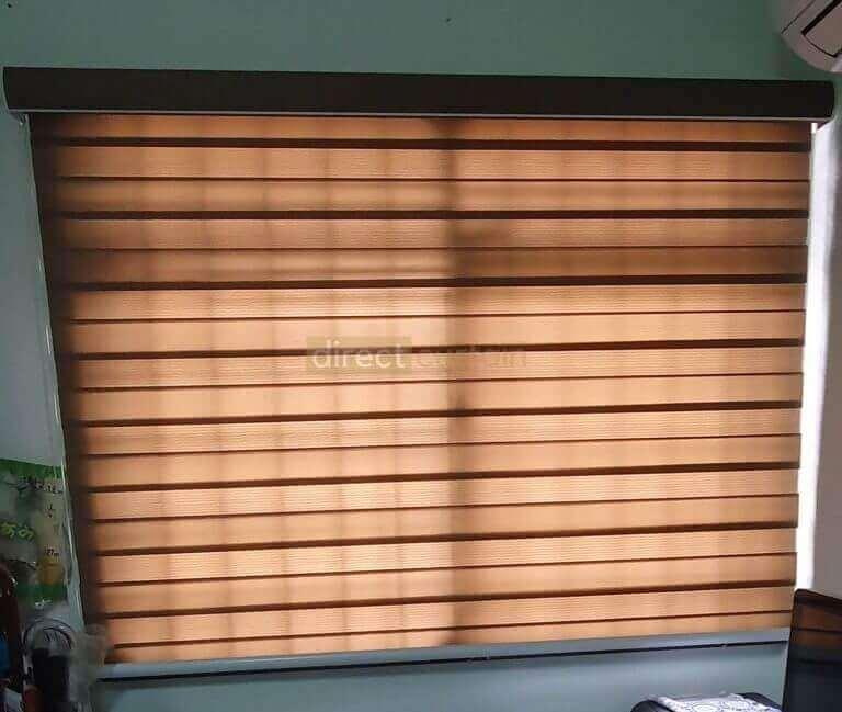 Korean Combi Zebra Blind - Olive Brown in Bedroom closed