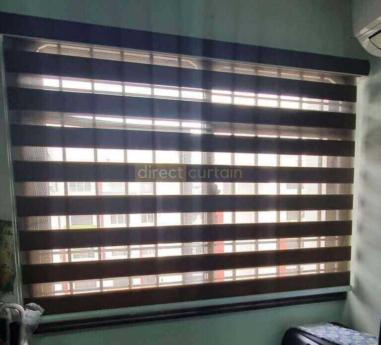 Korean Combi Zebra Blind - Olive Brown in Bedroom opened