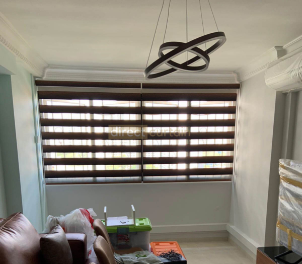 Korean Combi Zebra Blinds – Gradation Brown Black - Living Room