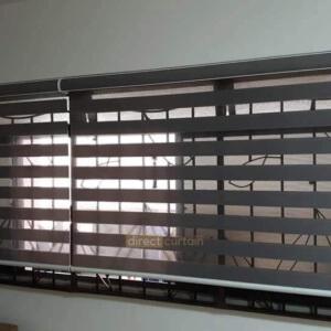 Korean Zebra Combi Blind – Shadow Grey in Corridor Living Room