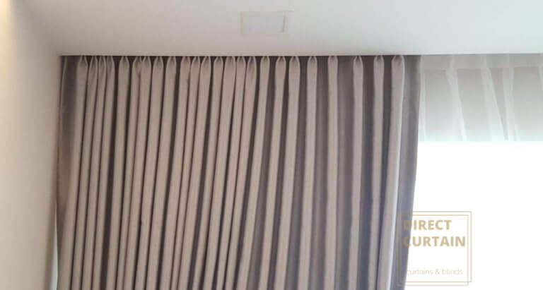 Light Brown Night Curtans and White Day Curtains