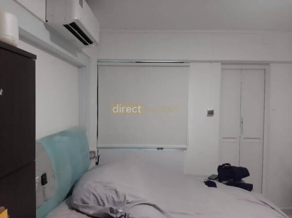 Roller Blind Singapore - Blackout Porcelain White - Master Bedroom