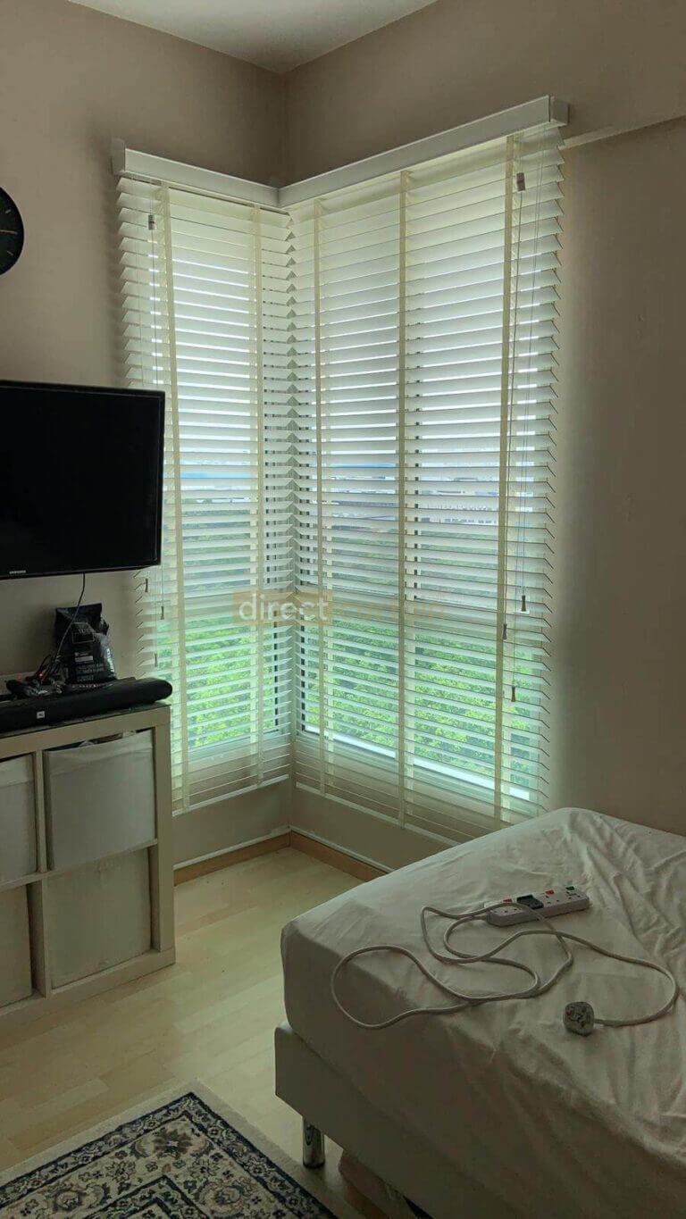 Venetian Blinds - Bright White with Cream Tape - L Shaped Window