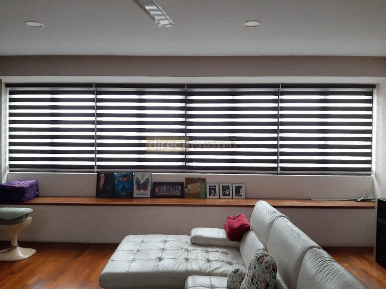 Zebra Blind – Blackout Chocolate Brown - Entertainment Room